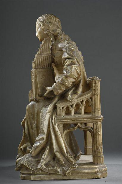 Sainte Cécile en albâtre sculpté en ronde-bosse Castille, attribuée à Gil de Siloé...