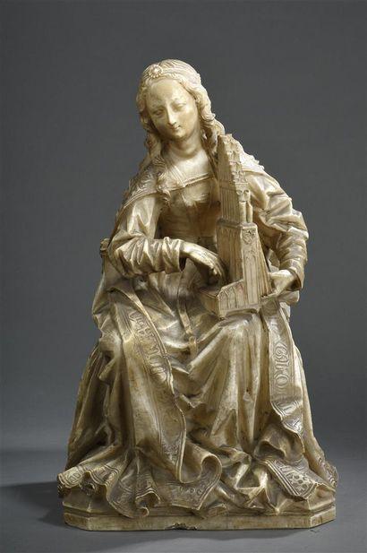 Sainte Cécile en albâtre sculpté en ronde-bosse...