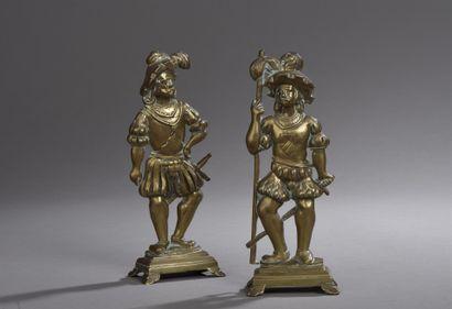 Paire de lansquenets en bronze d'applique,...