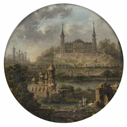 École FRANCAISE, vers 1780 Châteaux au bord...