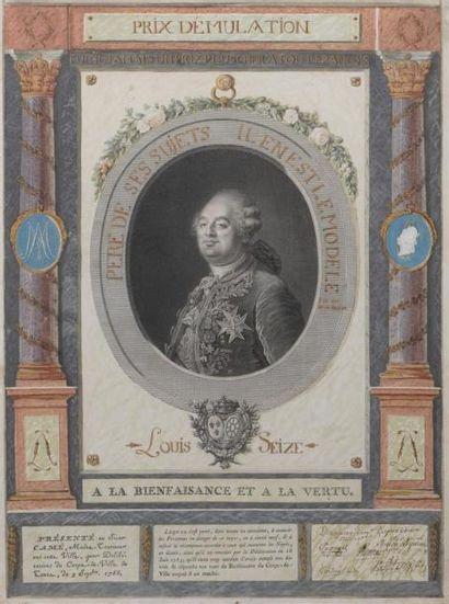 Prix d'émulation, Tours, 1788 Gravure d'après...