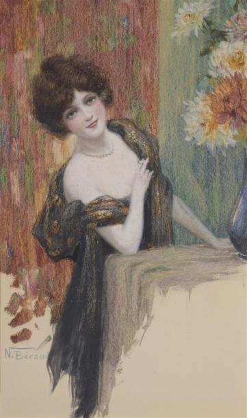 N.BERAUD (XXe siècle) Jeune femme au chale...