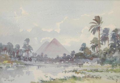 D.HIDAYET(?-1972) Pyramides vue du Nil et...