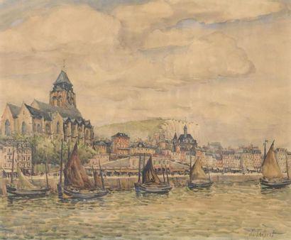FRANK-WILL (1900-1951) Le treport Aquarelle...