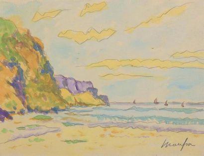 Maxime MAUFRA (1861-1918) Bord de mer Aquarelle...