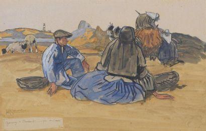 Mathurin MEHEUT(1882-1968) A Ouessant Aquarelle...