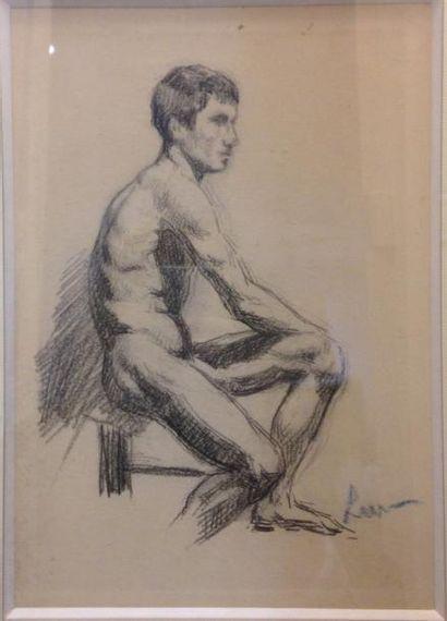 Maximilien LUCE (1858-1941) Homme assis Dessin...