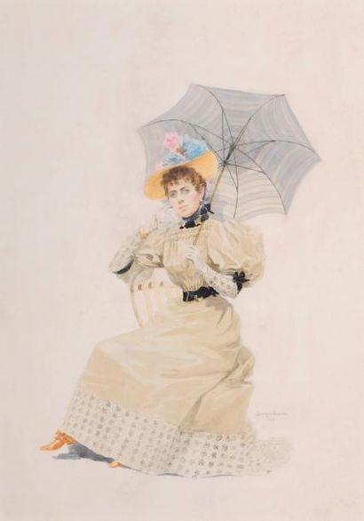 Georges BUSSON (XXe siècle) Portrait de femme...