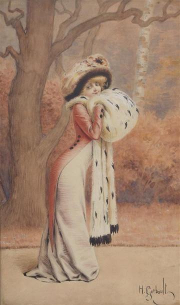 Henri GERBAULT(1863-1930) Jeune femme au...
