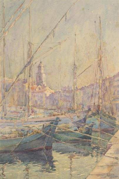 Emile GUDIN (1874-1957) Port de Saint Tropez...