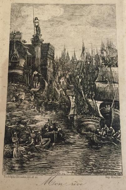 Rodolphe BRESDIN (1822-1885) Mon rêve Eau-forte....