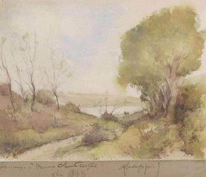 Henri Joseph HARPIGNIES (1819-1916) Chemin...