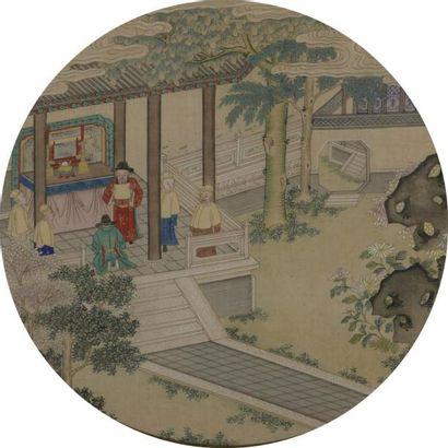 Deux petites peintures rondes à l'encre et couleurs sur soie encadrées Chine, XIXe...