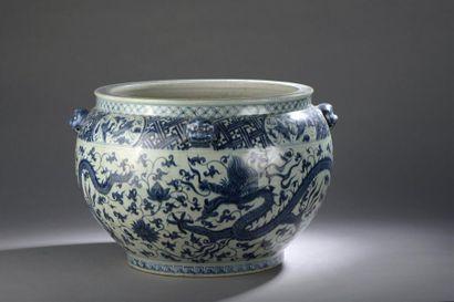 Grande vasque en porcelaine bleu blanc Chine...