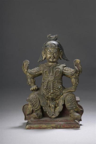 STATUETTE DE GUANDI en bronze partiellement doré et laqué Chine, XVIIIe siècle Représenté...