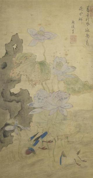Peinture à l'encre et couleur sur soie encadrée...