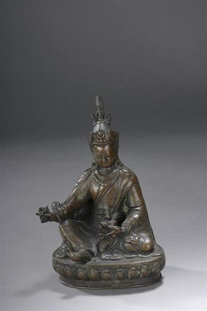 STATUETTE DE PADMASAMBHAVA en bronze Tibet,...