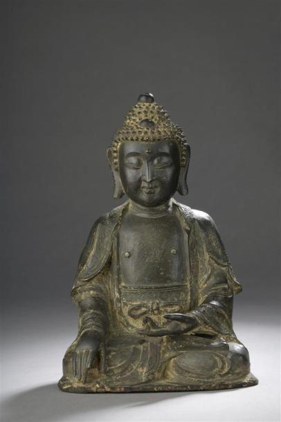 STATUE DE BOUDDHA en bronze Chine, époque...