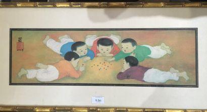 Trung Thu MAI (1906-1980) Ronde des enfants Estampe sur soie. 46 x 28 cm