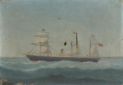 Marie-Edouard ADAM (1847-1929) Navire battant pavillon anglais Huile sur toile signée...