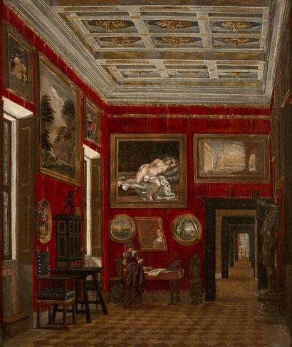 École ALLEMANDE vers 1660 Le cabinet d'un collectionneur Toile. Etiquette ancienne...