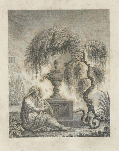 Ecole française du milieu du XIXe siècle Gravure séditieuse à décor d'une femme...