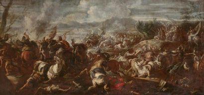 Attribué à Antonio CALZA (1653-1725) Choc de cavalerie Toile. Restaurations anciennes...