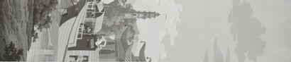 Procession chinoise, papier peint panoramique...