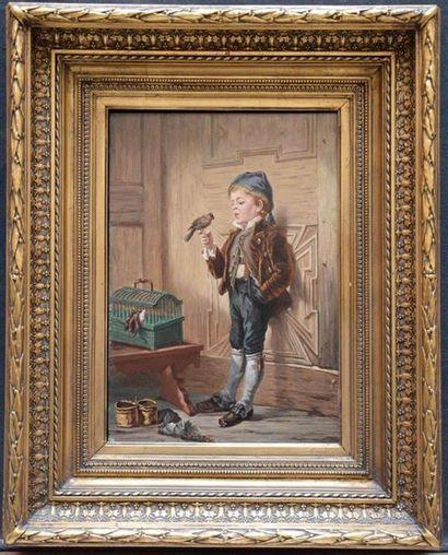 F. PEETERS Le petit chardonneret Panneau...