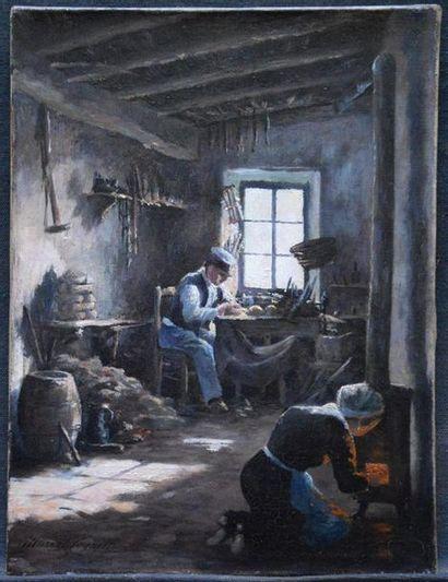 Marcel COGNIET (1857-1914) Dans l'atelier...