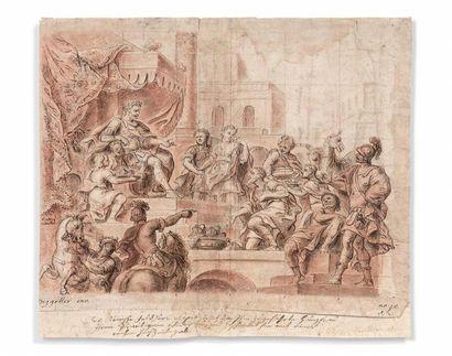 Hans Georg DEGGELLER (1628-1699) La continence de Scipion ? Plume et encre brune,...