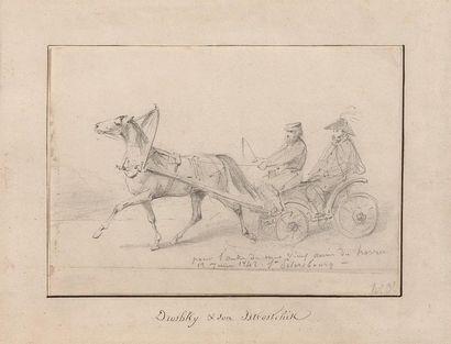 Horace VERNET (Paris 1789-1863) La calèche Crayon noir. Monogrammé en bas à droite....