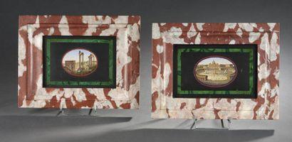 Deux plaques en micromosaïque à décor de...