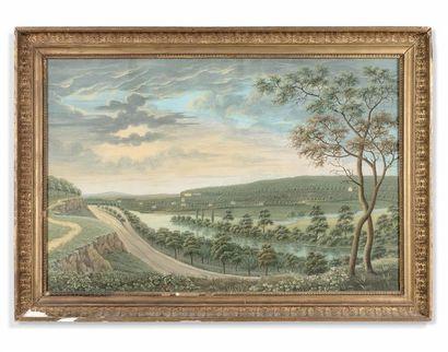 École allemande du XIXe siècle Vues d'Erfurt Paire d'aquarelles gouachées. 57 x...