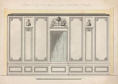École française du XVIIIe siècle Projet de boiserie : élévation de la face intérieure...