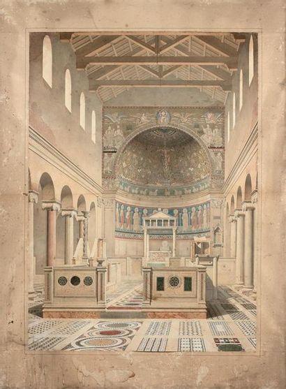 Joseph NICOLLE (Fontenay 1810-1887) Intérieur de la basilique Saint-Clément-du-Latran...