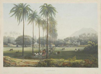 D'après Lauvergne et de Sainson Vues de Macao, Malacca, Banjowangui et La Favorite,...