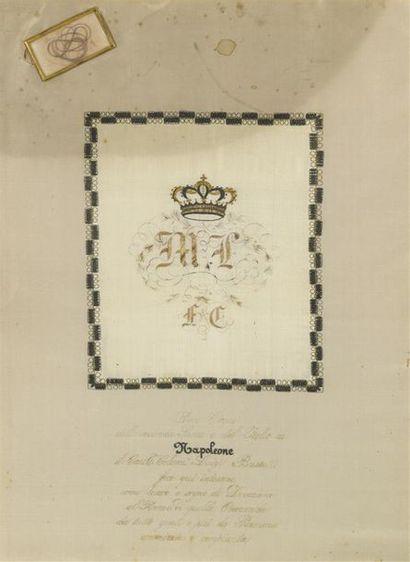 Cadre contenant une mèche de cheveux du roi...