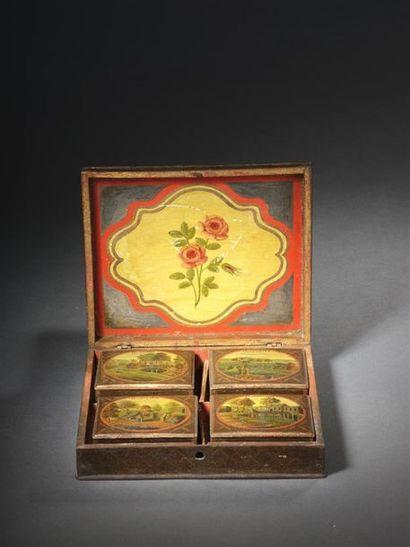 Boîte à jeux en bois laqué, Spa vers 1760...