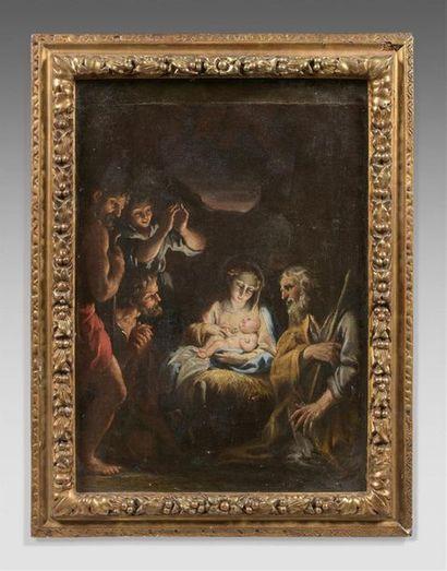 École bolonaise du XVIIe siècle L'adoration des bergers Toile agrandie en haut....
