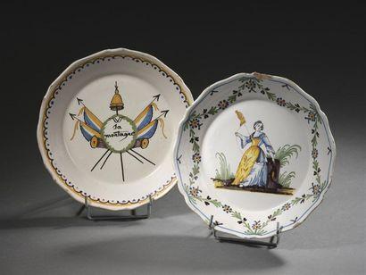 Nevers, XVIIIe siècle Deux assiettes, l'une...