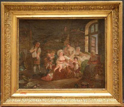 École Liégeoise vers 1800 Les linges de bébé...