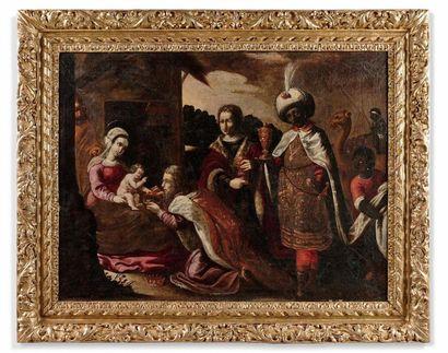 École française vers 1630, entourage de Jean Senelle L'adoration des mages Toile....
