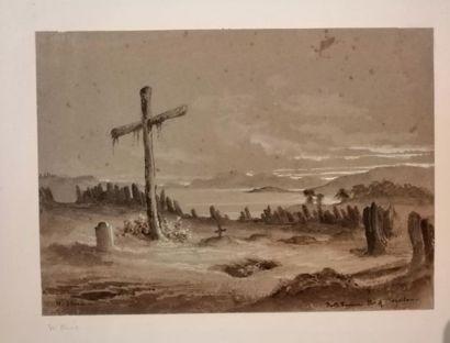 Wilhelm HEINE (Dresde 1825-1885) Port Famine, détroit de Magellan Lavis gris, lavis...