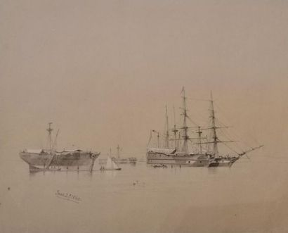Wilhelm HEINE (Dresde 1825-1885) La frégate...