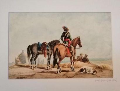 Joseph JACOPS (Anvers 1806-1856) Cavaliers...