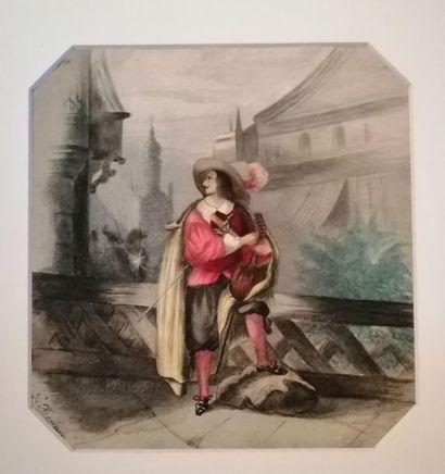 G. HENNER (actif au XIXe siècle) Joueur de mandoline au balcon Aquarelle. Signé...