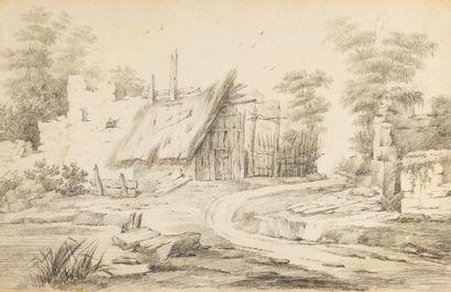 Ecole FRANCAISE du XIXème siècle La grange...
