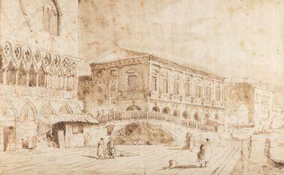 Ecole VENITIENNE du XIXème siècle Le quai...