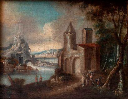 Ecole ALLEMANDE du XVIIIème siècle Personnages...